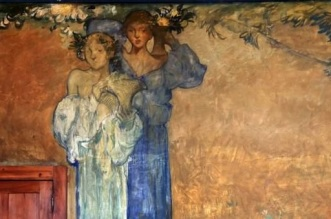 4 Affresco - Casa Cuseni. Museum of Fine Art and historic BB. Frank Brangwyn frescoes. dining room.