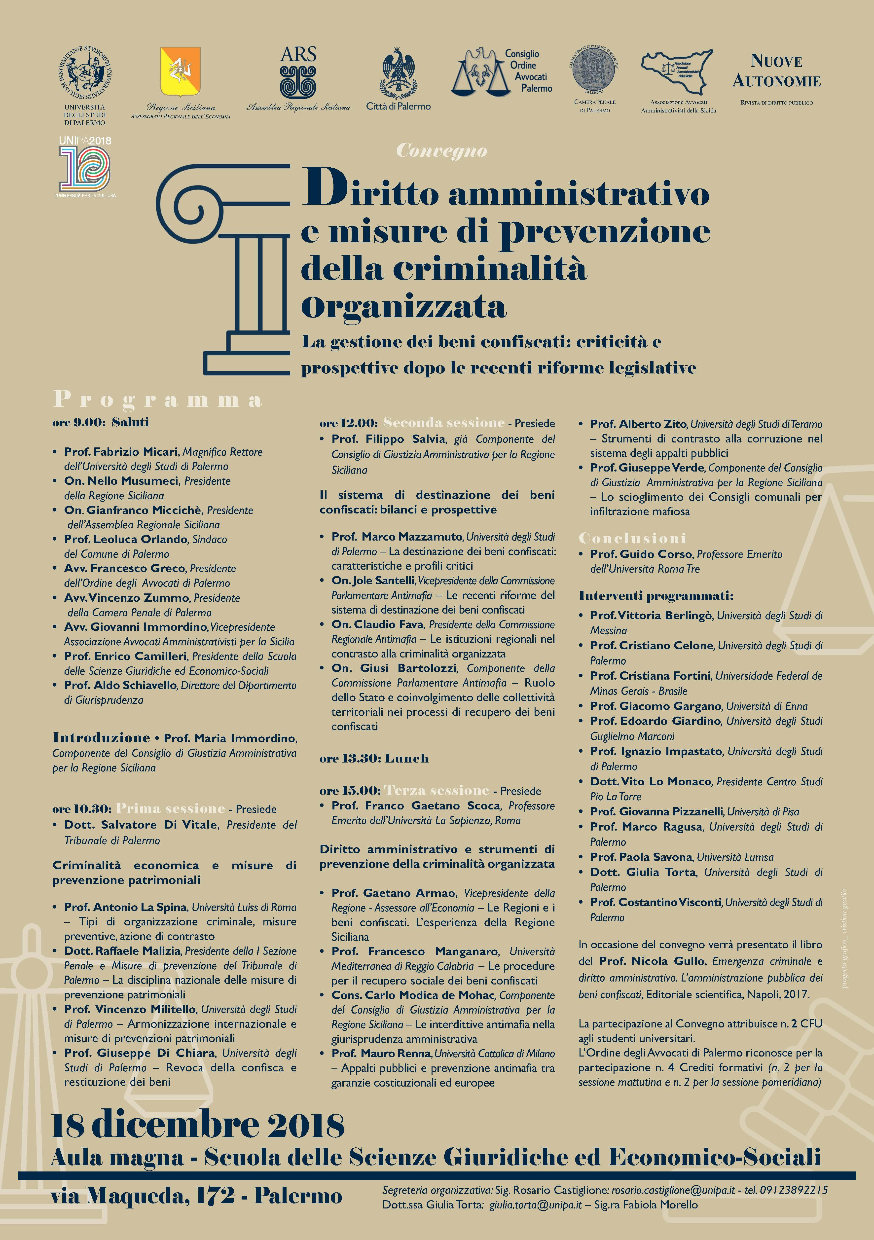 Locandina Convegno 18 dicembre 2018 Palermo
