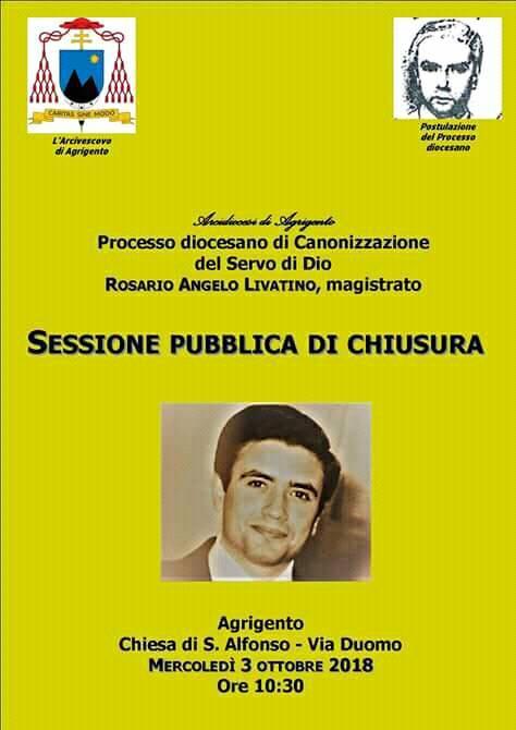 Rosario Livatino Annuncio Sessione Pubblica di Chiusura